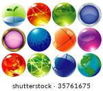 glossy spheres and globes.... | Shutterstock .eps vector #35761675