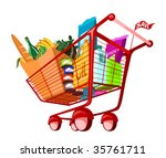 illustration of groceries in... | Shutterstock .eps vector #35761711