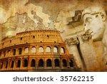great Roman empire - conceptual collage in retro style - stock photo