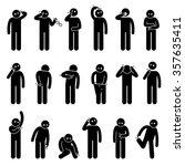 man scratching body stick... | Shutterstock .eps vector #357635411
