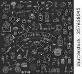 hand drawn doodle love and... | Shutterstock .eps vector #357638045