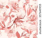 vector seamless pink amaryllis... | Shutterstock .eps vector #357649955