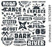 camping typographic elements.... | Shutterstock .eps vector #357652889