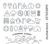set of camping and hiking icons ... | Shutterstock .eps vector #357652895