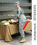 Small photo of CHEYENNE, WY__CIRCA JUNE 5, 2014__Military women having brunch at the Air National Guard in Cheyenne, Wy..