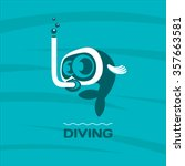 diving. fish diver mask with...   Shutterstock .eps vector #357663581