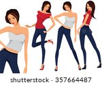 vector set of three beautiful... | Shutterstock .eps vector #357664487