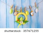 Colorful Easter Eggs On Rope O...