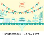 dessert table for a party... | Shutterstock .eps vector #357671495
