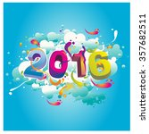 happy new year 2016 abstract... | Shutterstock .eps vector #357682511