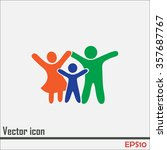 happy family icon in simple... | Shutterstock .eps vector #357687767