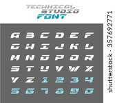 tech letters stencil font. wide ... | Shutterstock .eps vector #357692771