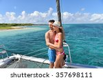 cheerful couple having fun on a ... | Shutterstock . vector #357698111