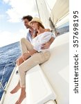 romantic couple enjoying sail... | Shutterstock . vector #357698195