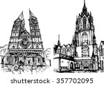 two gothic cathedrals | Shutterstock .eps vector #357702095