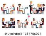 people eating and talking in... | Shutterstock .eps vector #357706037
