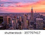 New York City Midtown with Empire State Building at Amazing Sunset - stock photo