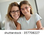 portrait of mother and daughter ... | Shutterstock . vector #357708227