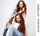 beautiful twins young women in... | Shutterstock . vector #357708467