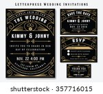 letterpress wedding invitation... | Shutterstock .eps vector #357716015