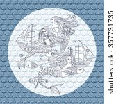 graphic  pattern with mermaid ... | Shutterstock .eps vector #357731735