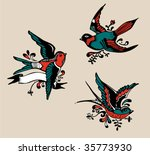 vintage birds   tattoo | Shutterstock .eps vector #35773930