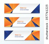 triangle banner orange and blue | Shutterstock .eps vector #357761225