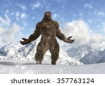 Stock photo sasquatch bigfoot yeti on snowy mountain peaks 357763124