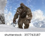 Stock photo sasquatch bigfoot yeti on snowy mountain peaks 357763187