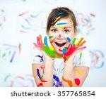 cute girl showing her hands... | Shutterstock . vector #357765854