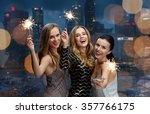 happy young women dancing at... | Shutterstock . vector #357766175