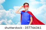 boy in red superhero cape and... | Shutterstock . vector #357766361