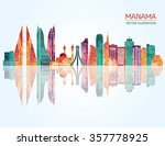 Manama Detailed Skyline. Vecto...