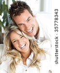 young love couple smiling in... | Shutterstock . vector #35778343