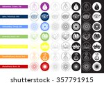Set Of 7 Chakras Sign Symbol...