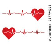 red heart with ekg on white  ...