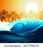 Tropical Surfing Wave At...