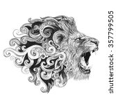 Tattoo Head Grinning Lion With...
