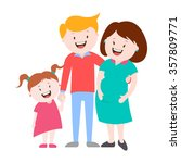 happy family   a pregnant woman ... | Shutterstock .eps vector #357809771