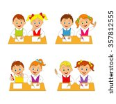 children  boys and girls at the ... | Shutterstock .eps vector #357812555