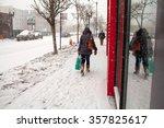 walking in snow. blizzard | Shutterstock . vector #357825617