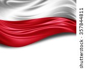 Stock photo poland flag of silk with copyspace for your text or images and white background 357844811