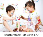 cute boy and girl showing her... | Shutterstock . vector #357845177
