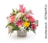 Flowers Arrangement In A Basket