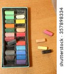 Box Of Colored Pastel Chalk On...