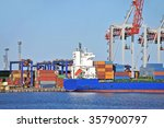 container stack and ship under... | Shutterstock . vector #357900797