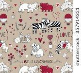 animals in love pattern | Shutterstock .eps vector #357914321