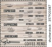 coffee menu on wood vector... | Shutterstock .eps vector #357920387