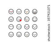 white outlined emoticon set | Shutterstock .eps vector #357921371