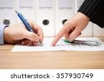 business woman is pointing... | Shutterstock . vector #357930749